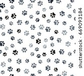 paw print seamless. traces of... | Shutterstock .eps vector #669093184