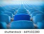 blue seats on the stadium. ... | Shutterstock . vector #669102280
