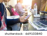business man pointing stock... | Shutterstock . vector #669103840