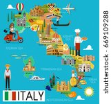 map of italy and travel icons... | Shutterstock .eps vector #669109288