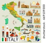 map of italy and travel icons... | Shutterstock .eps vector #669109300