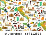 map of italy and travel icons... | Shutterstock .eps vector #669112516