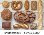 different kinds of bread  top... | Shutterstock . vector #669113680