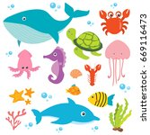 under the sea vector | Shutterstock .eps vector #669116473