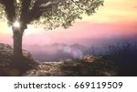 House for Adam and Eve: Spiritual tree of life in Eden garden on beautiful sunset background