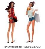 cute fashion cartoon girls in... | Shutterstock . vector #669123730