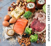 Stock photo assortment of healthy protein source and body building food meat beef salmon chicken breast eggs 669125158