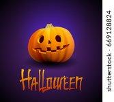 halloween pumpkin carved... | Shutterstock . vector #669128824