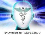 3d illustration of female face... | Shutterstock . vector #669133570