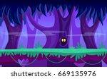 cartoon night forest seamless... | Shutterstock .eps vector #669135976