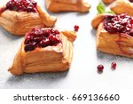 delicious pastries with cherry... | Shutterstock . vector #669136660