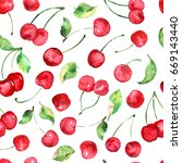 watercolor cherries fruit... | Shutterstock . vector #669143440