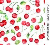 watercolor cherries fruit... | Shutterstock . vector #669143440