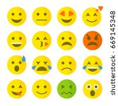 funny flat style emoji emoticon ... | Shutterstock .eps vector #669145348