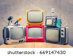 retro old tv set receivers and... | Shutterstock . vector #669147430