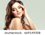 beautiful woman face portrait... | Shutterstock . vector #669149308