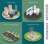 electric power production... | Shutterstock .eps vector #669154228