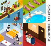 four square hotel service... | Shutterstock .eps vector #669154240