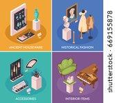 museum exhibition 2x2 design... | Shutterstock .eps vector #669155878