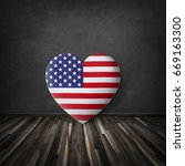 Small photo of Heart on black wall mack up for independence day of America