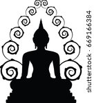 buddha statue in silhouette on... | Shutterstock .eps vector #669166384