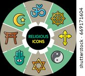 infographic set of religious... | Shutterstock .eps vector #669171604
