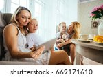 moms and kids spending time in... | Shutterstock . vector #669171610