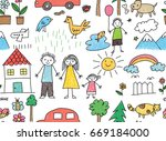 kid drawing with family  car ... | Shutterstock . vector #669184000
