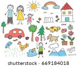 kid drawing with family  car ... | Shutterstock . vector #669184018