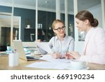 one of accountants showing... | Shutterstock . vector #669190234
