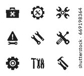 set of 9 editable tool icons....