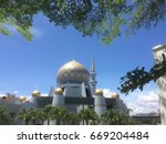 sabah state mosque with blue... | Shutterstock . vector #669204484