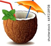 coconut drink cocktail with... | Shutterstock .eps vector #669218938