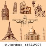 famous world places big ben... | Shutterstock .eps vector #669219379