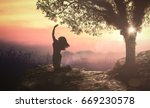 bible story  eve in eden garden. | Shutterstock . vector #669230578