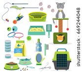 cat toys collection cat stuff... | Shutterstock .eps vector #669244048