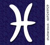 pisces sign on zodiac background | Shutterstock .eps vector #669245929