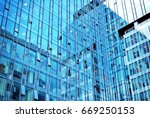 modern office building with... | Shutterstock . vector #669250153