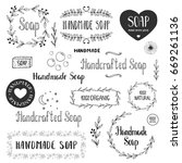 hand drawn soap labels. vector. ... | Shutterstock .eps vector #669261136
