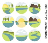 river and landscape icons | Shutterstock .eps vector #669262780