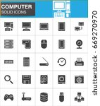 vector icons set  modern solid... | Shutterstock .eps vector #669270970