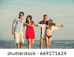 group of friends together on... | Shutterstock . vector #669271624