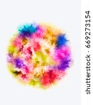 a colored explosion of powder.... | Shutterstock .eps vector #669273154