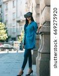 game developer testing new game ... | Shutterstock . vector #669275920