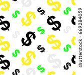 seamless pattern with dollars | Shutterstock .eps vector #669284059
