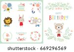 happy birthday card. vector... | Shutterstock .eps vector #669296569