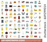 100 honeymoon icons set in flat ...   Shutterstock .eps vector #669299014