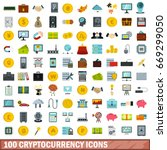 100 cryptocurrency icons set in ... | Shutterstock .eps vector #669299050