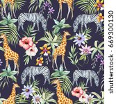 watercolor tropical pattern... | Shutterstock . vector #669300130