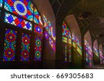 nasir al molk mosque in shiraz  ... | Shutterstock . vector #669305683